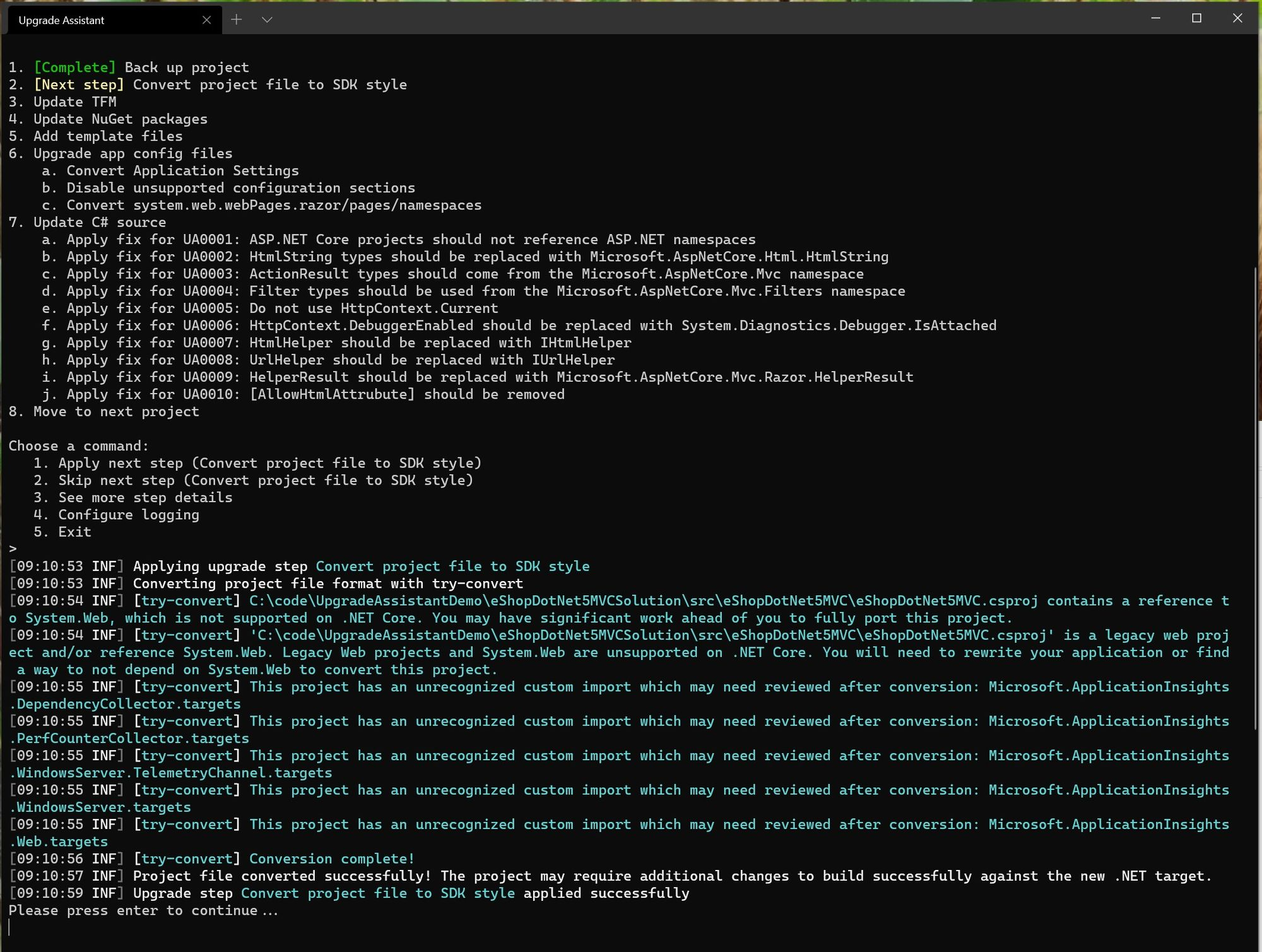 The .NET Upgrade Assistant converts the project file to the SDK style
