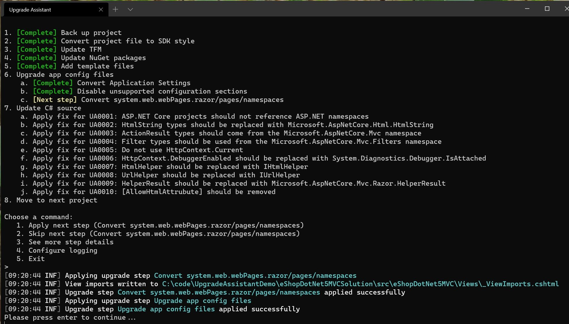 The .NET Upgrade Assistant migrates app config files