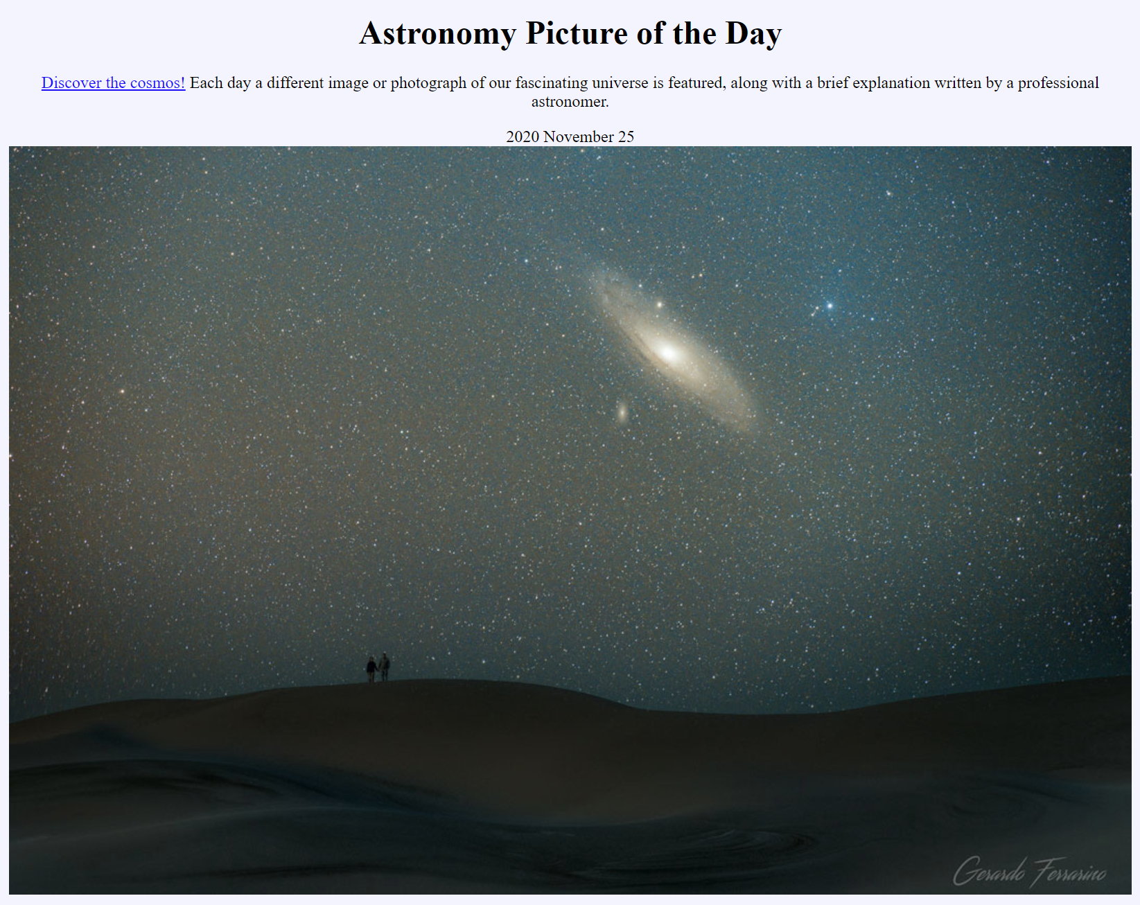 The Astronomy Picture of the Day site