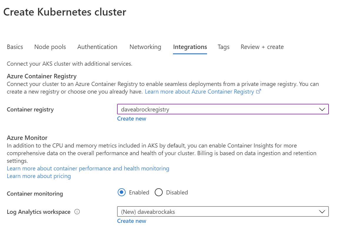create aks cluster - integration