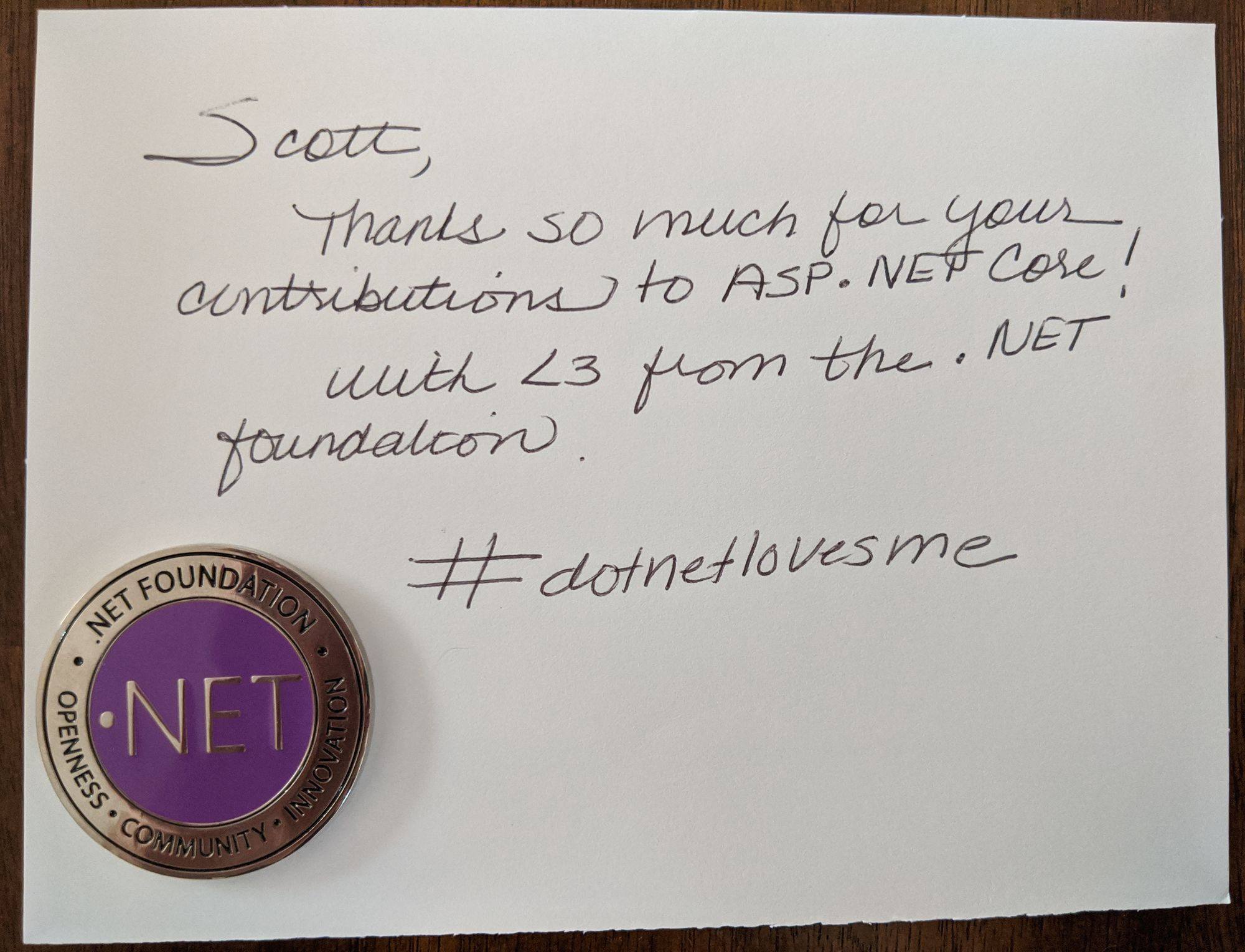 .NET Foundation thank you note
