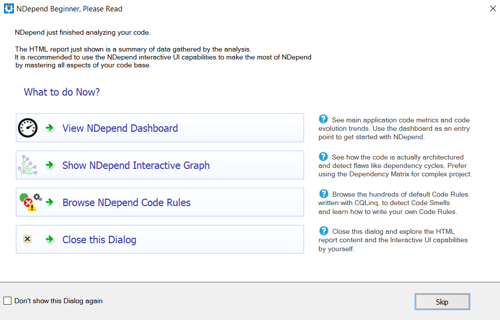 go to NDepend dashboard